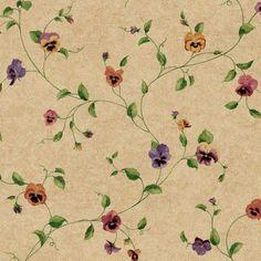 York Wallcoverings Kitchen & Bath Pansy Trail Wallpaper Tan - KH7015