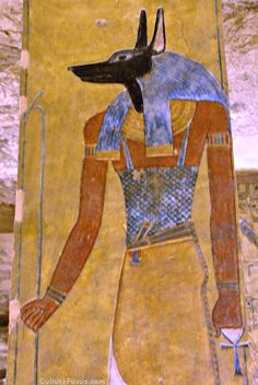 Anubis, a guardian of the dead, in the tomb of Twosret and Setnakhte.