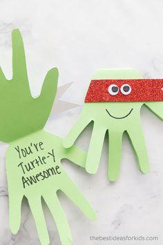 Ninja Turtle Handprint Cards