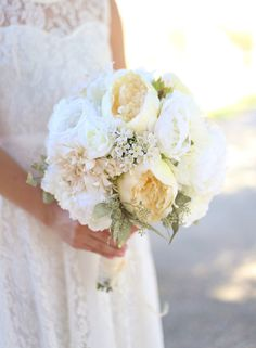 Silk Bride Bouquet White Cream Roses Peonies by braggingbags