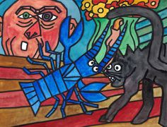 """Lobster and Cat"" (after Pablo Picasso´s ""Le homard et le chat""), permanent marker and watercolour on paper, 24 x 32 cm Permanent Marker, Pablo Picasso, Watercolour, Moose Art, Paintings, Paper, Animals, Cat Breeds, Painting Art"