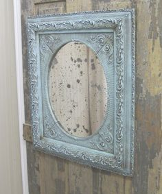 shabby  chic. Love this color on the mirror.