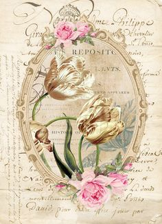 Furniture decals shabby chic french image transfer vintage Antique gold tulip home Craft label script crafts scrapbooking card making Diy Decoupage Vintage, Vintage Ephemera, Vintage Cards, Vintage Paper, Vintage Pictures, Vintage Images, Scrapbooking Vintage, Dossier Photo, French Images