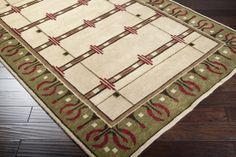 Hand Knotted Arts Crafts Mission Style Red Green New Zealand Wool Area Rug Craftsman Rugs, Dining Table Rug, Mission Style Furniture, Rug Inspiration, Accent Furniture, Wool Area Rugs, Red Green, Art Nouveau, Bohemian Rug