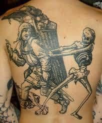 What does woodcut tattoo mean? We have woodcut tattoo ideas, designs, symbolism and we explain the meaning behind the tattoo. Sweet Tattoos, Unique Tattoos, Cool Tattoos, Type Tattoo, Tattoo You, Tattoo Stockholm, Medieval Tattoo, Woodcut Tattoo, Occult Tattoo