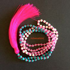 Pink Tassel Necklace Neon tassel Turquoise beads by Rubenabird