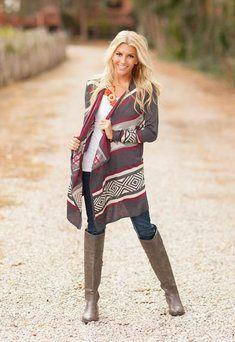 Give Me Love Tribal Sweater Burgandy