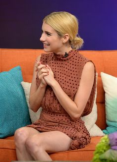 """Emma Roberts delicious on the set of Univisions """"Despierta America"""" to support the film """"Nerve"""""""" at Univision Studios on July 14, 2016 in Miami, Florida."""