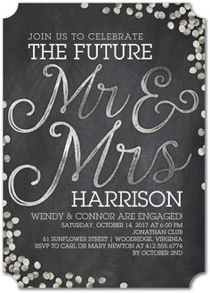 Shimmering Future - Signature White Engagement Party Invitations in Flint or Walnut | Sarah Hawkins Designs