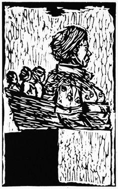 Carry them (2013). Linocut