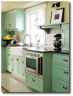Mint Green Kitchen, Keywords: Designer Kitchens, Cabinet Hardware Ideas, Paint Colors For Kitchen Cabinets, Cabinet Updates, Cabinet Designs, Furniture Hardware Ideas, Easy Inexpensive Kitchen Renovations