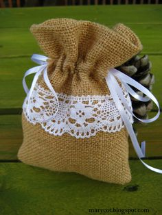 Instead of a box? Burlap Flowers, Burlap Ribbon, Burlap Wreath, Burlap Crafts, Diy And Crafts, Vintage Candy Bars, Lavender Crafts, Burlap Gift Bags, Flower Ball