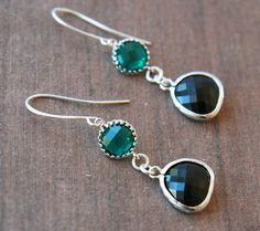 Emerald Green Black Earrings  Autumn Winter  by lilabelledesign, $25.00