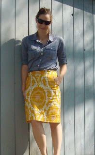 Top: J.Crew Factory End-on-end camp shirt Skirt: J.Crew Ochre Ikat pencil skirt Shoes: Bandolino Adiva pumps