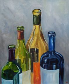 Empty Wine Bottles  Still Life Oil Painting by AlisonKolkebeckArt, $200.00