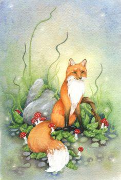 Little Fox Watercolor Print illustration. Watercolor Animals, Watercolor Print, Watercolor Paintings, Illustrations, Art And Illustration, Fennec, Fox Drawing, Fox Spirit, Art Carte