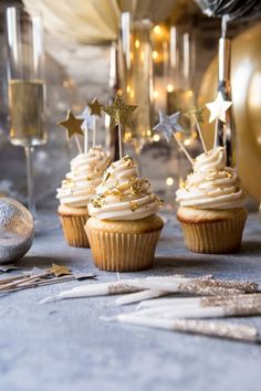 Toast the new year with this recipe for champagne cupcakes from Half Baked Harvest.