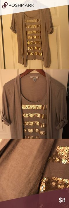 Gold sequin striped faux cardigan top Tan faux cardigan top with sequined sleeves. Worn four times. Minor pilling under cardigan underarms (pictured.) Gathered mid-length sleeves with buttons. Elastic gathered waist back. Style & Co Tops