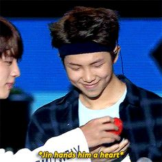 "Namjoon's face was so proud when he held the heart. Like yes ""I have his heart he is mine"""