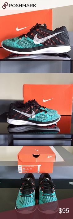NIKE FLYKNIT LUNAR3 Women's Size 8.5 NIKE FLYKNIT LUNAR3 in BLACK/WHITE-LT RETRO-LAVA GLOW 🤔 or in other words, black, white, teal, and peach.  Sooo I'm not much of a sneaker freak but apparently these are running shoes, but I bought them to wear to a Dolphins game, 🙄 that I didn't end up going to 😅 (Thats all I have to say). Basically, they are brand new, never worn, & I will never wear them, so if you're a runner, or a Miami Dolphin's fan, a crossfitter, or just a fan of this LT…