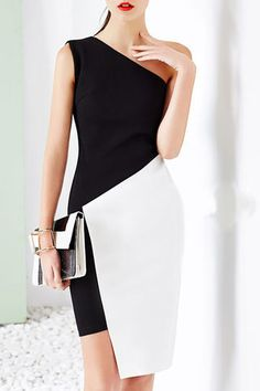 Black and White Color Block One Shoulder Asymmetrical Dress