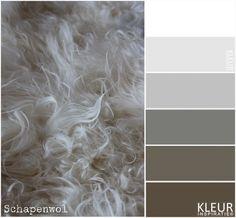 SCHAPENWOL - Kleurenpalet wit, grijs en bruin. Prachtig wollen kleed