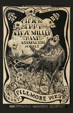 Vintage Chuck Berry Steve Miller Band concert poster. - Hippie, classic rock.