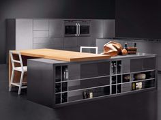 Stainless steel kitchen with island SKIN INOX SCOTCH-BRITE by Xera by Arex