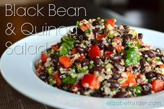 This Superfood Black Bean & Quinoa Salad Recipe is extremely good for you so fill up on it guilt-free. It's highly nutritious and highly delicious. granted, I'm obsessed with quinoa. Healthy Salad Recipes, Vegetarian Recipes, Cooking Recipes, Quinoa Salad Recipes Cold, Quinoa Bean Salad, Cooking Tips, Superfood Salad, Quinoa Rice, Kale Recipes