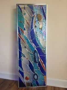 Stained Glass Abstract  Transom Window Suncatcher Panel Valance