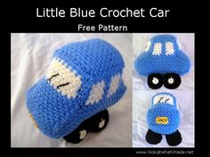 Little Blue Crochet Car - there's also a tractor & a digger pattern available