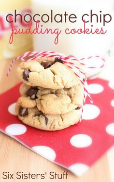 Chocolate Chip Pudding Cookies from SixSistersStuff.com.  You will love how soft and delicious these cookies are! #recipes #dessert #cookies
