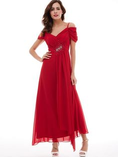 5e45cd2ec344 A-Line Open Shoulder Draped Pleats Beading Long Evening Dress Party Dresses  Online