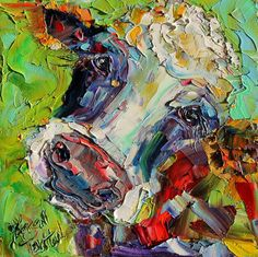 Original oil painting Cow Whimsical Portrait by Karensfineart