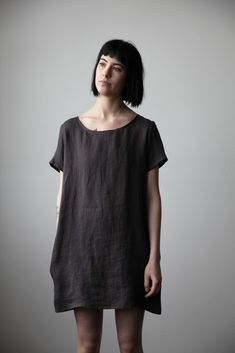 Linen T-Shirt Dress - Charcoal | Ovate