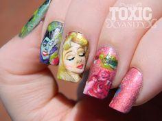 Sleeping Beauty Disney Manicure.  Ah-maze-ing