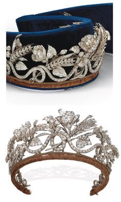 Floral/Wheat tiara that probably belongs to the Savoy family. c1850. A continuous scrolling old-cut diamond line with wheat sheaves, flowers, leaves and buds interwoven. Removable pieces for 6 brooches. E.Böhm, joaillier & bijoutier, Vienne.