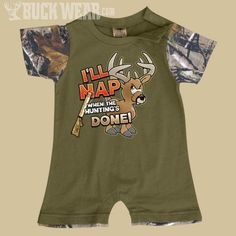 Baby Boys Romper - I'll Nap When Hunting is Done - Baby Boy Camo Clothing (Newborn - 24 Months) - Boy's Camouflage Clothing - Baby & Kids Weston has this!