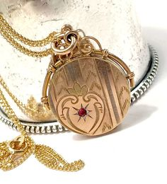 Antique Diamond Ruby Gold Filled Locket Victorian by Topcatvintage Victorian Jewelry, Antique Jewelry, Antique Locket, Jewelry Companies, Gold Filled Chain, Lockets, Charm Jewelry, Charmed, Jewels