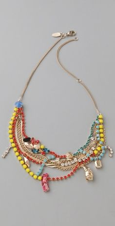 Iosselliani Crystal & Stone Neon Bib Necklace - StyleSays