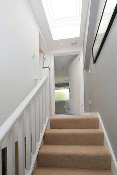 dormer loft conversion wandsworth: modern Corridor, hallway & stairs by nuspace; roof light over stairs Attic House, Attic Loft, Loft Room, Attic Rooms, Attic Spaces, Bedroom Loft, Attic Bathroom, Attic Library, Attic Playroom