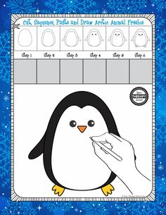 Cut Sequence Paste and Draw Penguin Freebie from the Arctic Animals packet