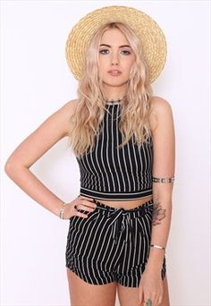 SKYE Black and White Striped Shorts Two Piece Co-ordinate