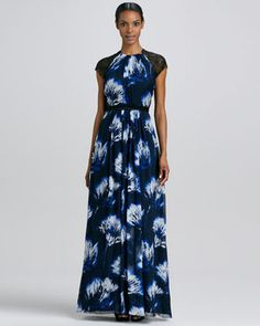 Carmen Marc Valvo Printed Cap Sleeve Gown #15things #trending #fashion #style #gowns #bridalboutique #CarmenMarcValvo