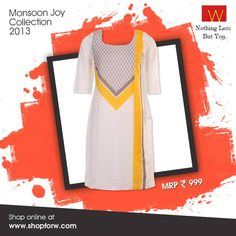 If you think minimal designs can't make a statement, we bet this stylish off-white kurta would make you change your mind  Shop for it here www.shopforw.com #ethnicwear #itsrainingfashion