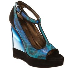 Lanvin Snakeskin T strap Wedge Sandal  #shoes #fashion