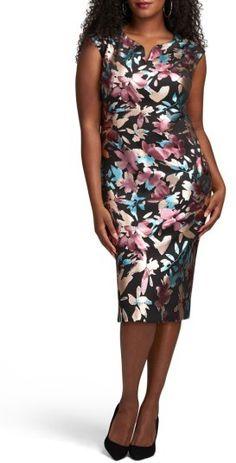 7788aba02ae Plus Size Women s Eci Floral Print Scuba Midi Sheath Dress