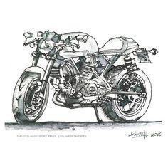 Dave Hendroff  A5 print Ducati Classic Sport motorbike