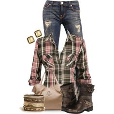 Casual Outfit! Love the pink plaid shirt and cute brown booties, plaid is in and it's perfect to wear this fall 2013 #PTCtrends #Fallfashion