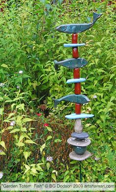 Image detail for -garden totem ceramics 36 inches high 2009
